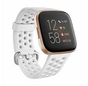 Strap-it® Fitbit Versa siliconen bandje met gaatjes (wit)