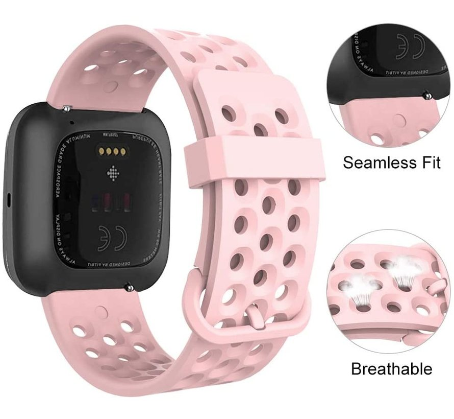 Strap-it® Fitbit Versa siliconen bandje met gaatjes (roze)