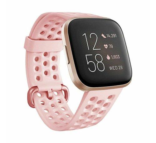 Strap-it® Strap-it® Fitbit Versa siliconen bandje met gaatjes (roze)