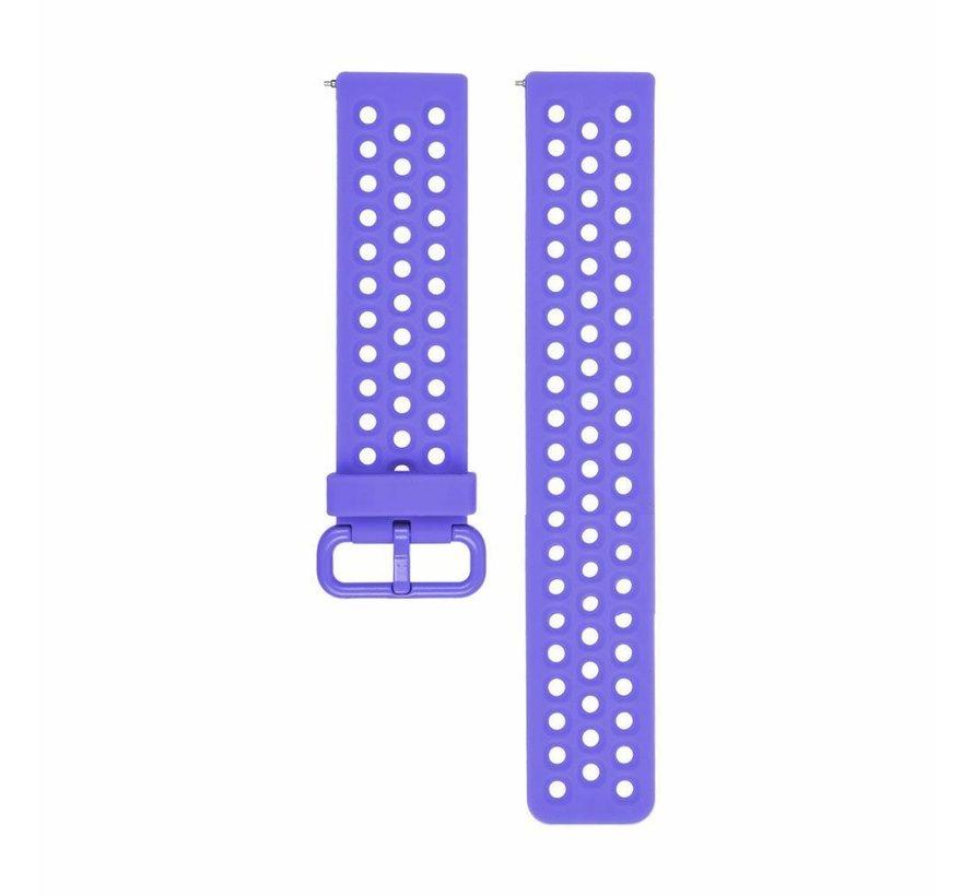 Strap-it® Fitbit Versa siliconen bandje met gaatjes (paars)
