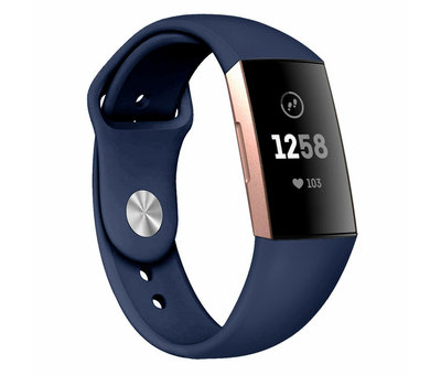 Strap-it® Strap-it® Fitbit Charge 3 sport bandje (donkerblauw)