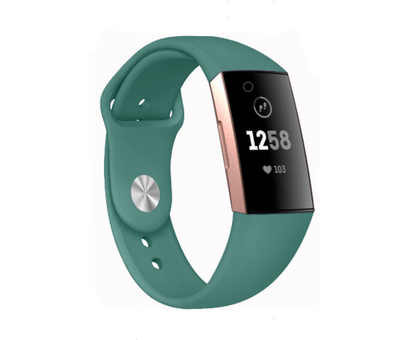 Strap-it® Strap-it® Fitbit Charge 3 sport bandje (dennengroen)