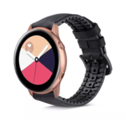 Strap-it® Samsung Galaxy Watch Active siliconen / leren bandje  (zwart)