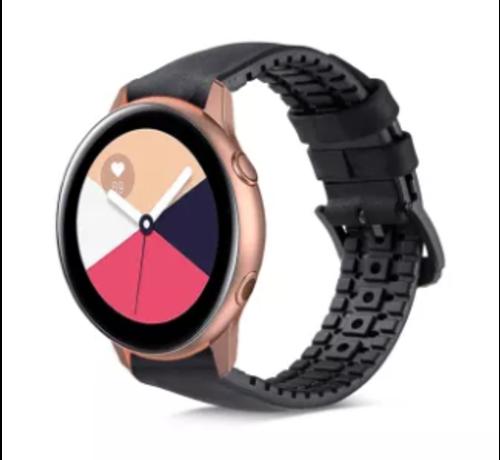 Samsung Galaxy Watch Active siliconen / leren bandje  (zwart)