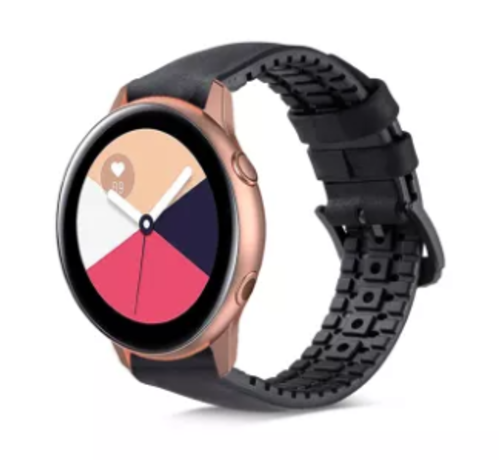 Strap-it® Strap-it® Samsung Galaxy Watch Active siliconen / leren bandje  (zwart)