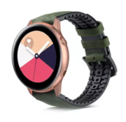 Strap-it® Samsung Galaxy Watch Active siliconen / leren bandje (groen)