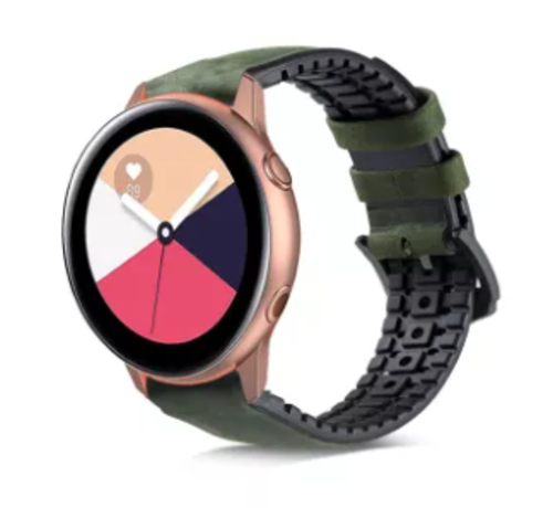 Samsung Galaxy Watch Active siliconen / leren bandje (groen)