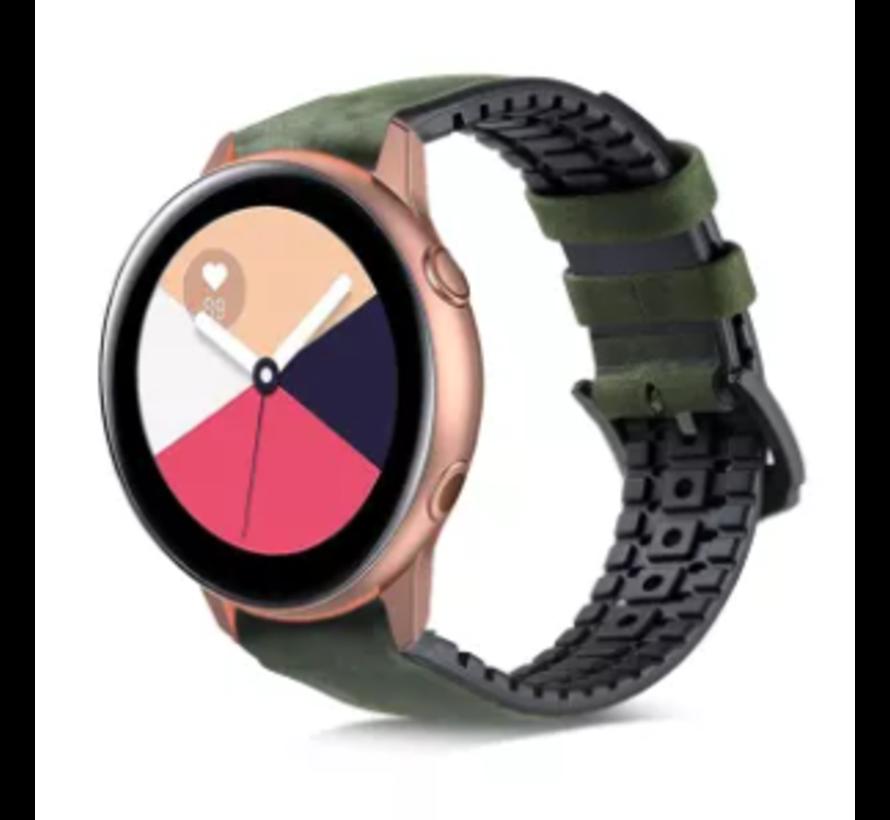 Strap-it® Samsung Galaxy Watch Active siliconen / leren bandje (groen)