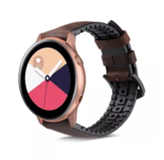 Strap-it® Samsung Galaxy Watch Active siliconen / leren bandje (zwart-bruin)