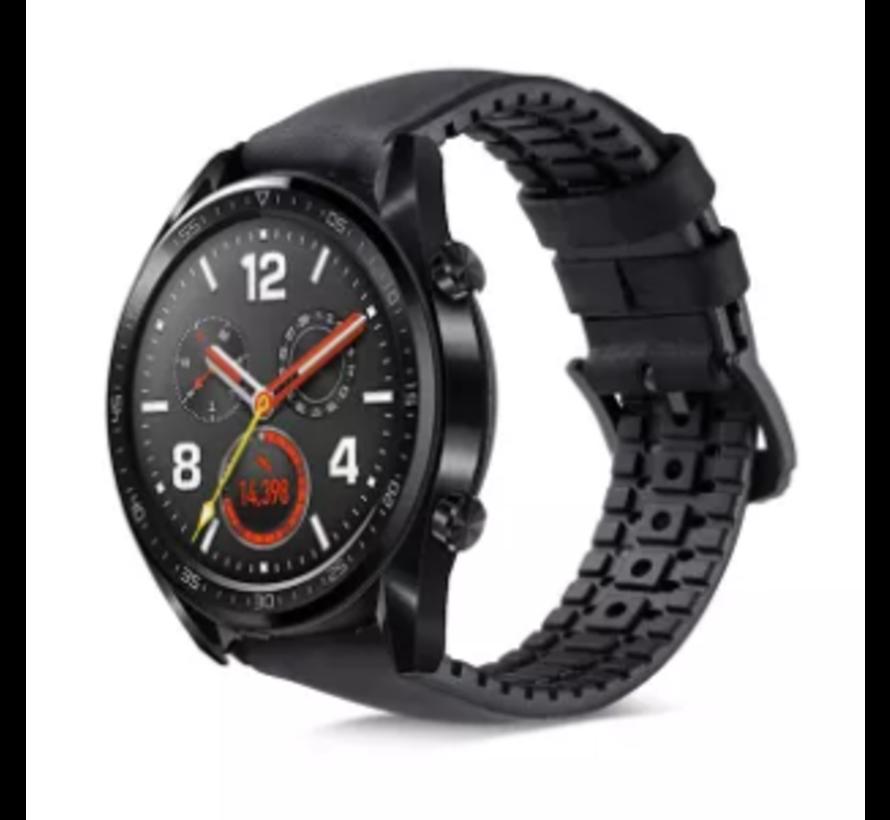 Strap-it® Huawei Watch GT siliconen / leren bandje (zwart)
