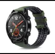 Strap-it® Huawei Watch GT siliconen / leren bandje (zwart/groen)