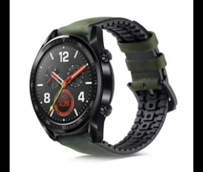 Strap-it® Strap-it® Huawei Watch GT siliconen / leren bandje (zwart/groen)