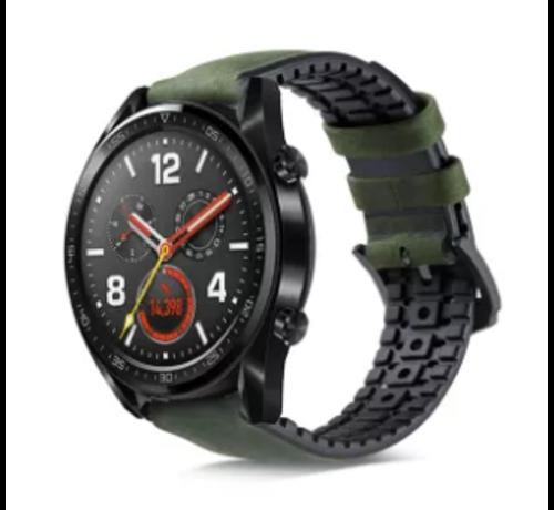 Huawei Watch GT siliconen / leren bandje (zwart/groen)