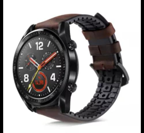 Strap-it® Strap-it® Huawei Watch GT siliconen / leren bandje (zwart/bruin)