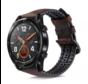 Strap-it® Huawei Watch GT siliconen / leren bandje (zwart/bruin)