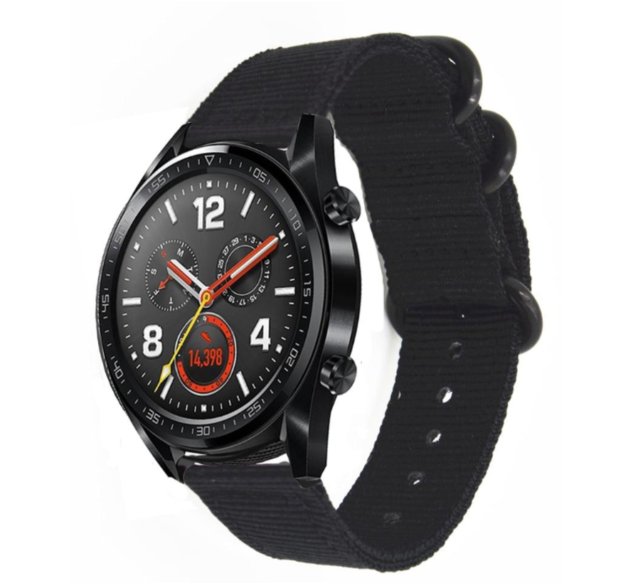 Strap-it® Huawei Watch GT nylon gesp band (zwart)
