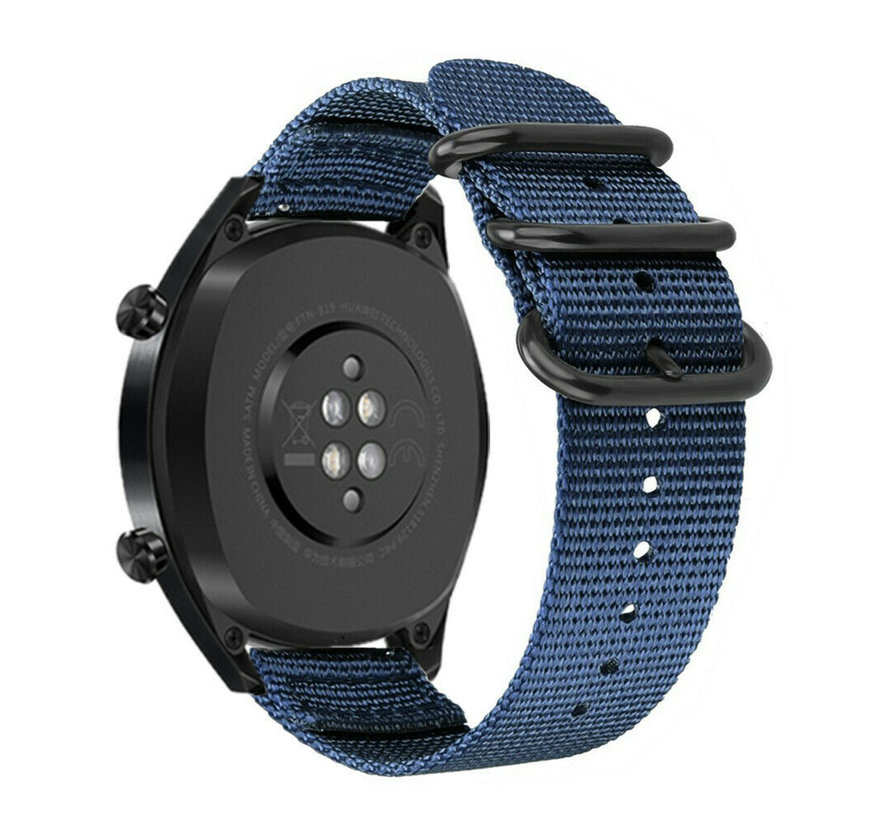 Strap-it® Huawei Watch GT nylon gesp band (blauw)