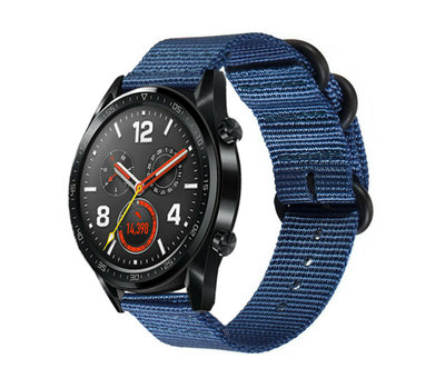 Strap-it® Strap-it® Huawei Watch GT nylon gesp band (blauw)