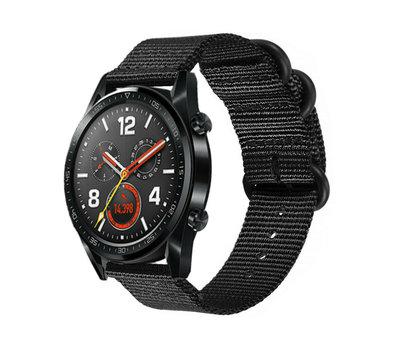 Strap-it® Strap-it® Huawei Watch GT nylon gesp band (zwart)