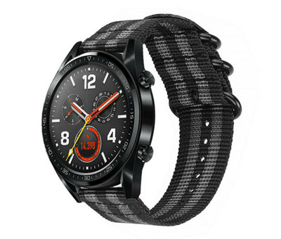 Strap-it® Strap-it® Huawei Watch GT nylon gesp band (zwart/grijs)
