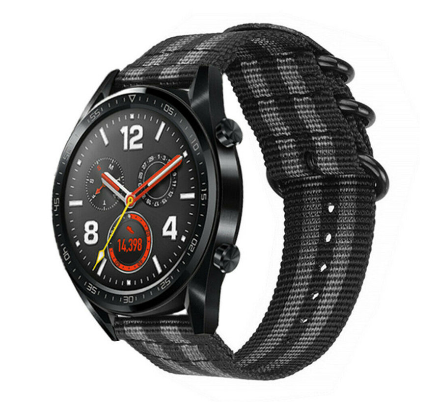 Strap-it® Huawei Watch GT nylon gesp band (zwart/grijs)