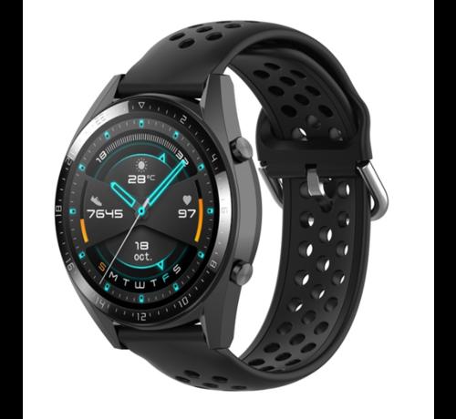 Strap-it® Strap-it® Huawei Watch GT siliconen bandje met gaatjes (zwart)