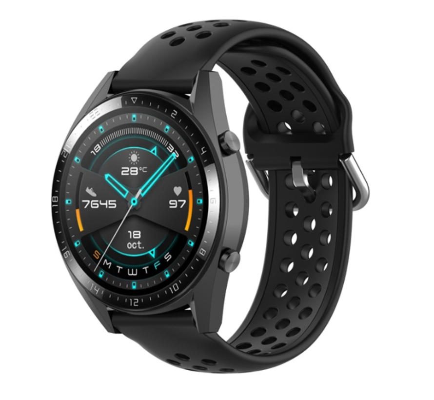 Strap-it® Huawei Watch GT siliconen bandje met gaatjes (zwart)