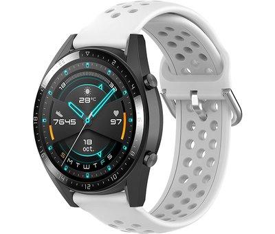 Strap-it® Strap-it® Huawei Watch GT siliconen bandje met gaatjes (wit)