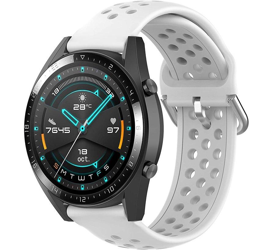 Strap-it® Huawei Watch GT siliconen bandje met gaatjes (wit)