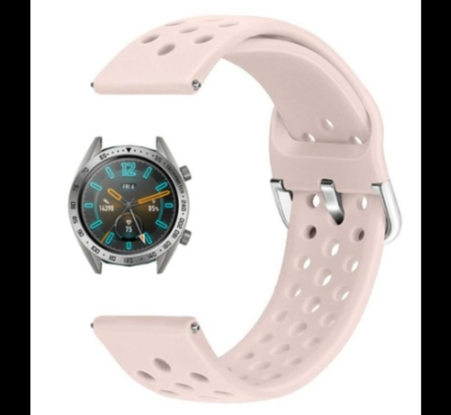 Strap-it® Huawei Watch GT siliconen bandje met gaatjes (roze)