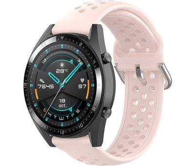 Strap-it® Strap-it® Huawei Watch GT siliconen bandje met gaatjes (roze)
