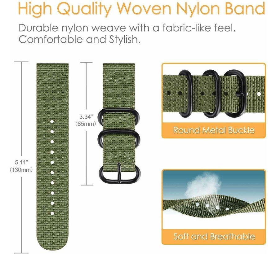 Strap-it® Samsung Galaxy Watch Active nylon gesp band (groen)