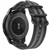 Strap-it® Samsung Galaxy Watch Active nylon gesp band (zwart/grijs)