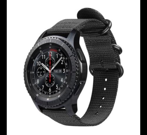 Strap-it® Strap-it® Samsung Galaxy Watch 45mm / 46mm nylon gesp band (zwart)