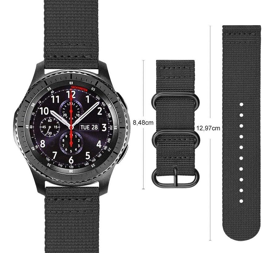 Strap-it® Samsung Galaxy Watch 45mm / 46mm nylon gesp band (zwart)