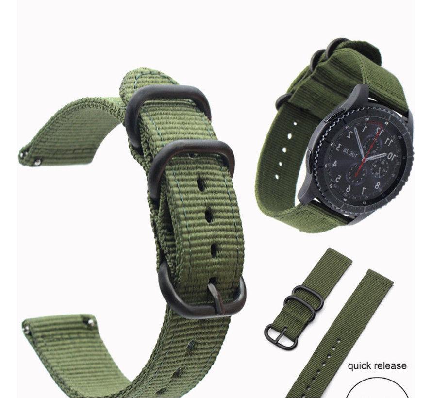 Strap-it® Samsung Galaxy Watch 45mm / 46mm nylon gesp band (groen