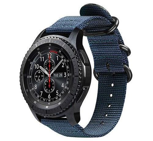 Strap-it® Strap-it® Samsung Galaxy Watch 45mm / 46mm nylon gesp band (blauw)