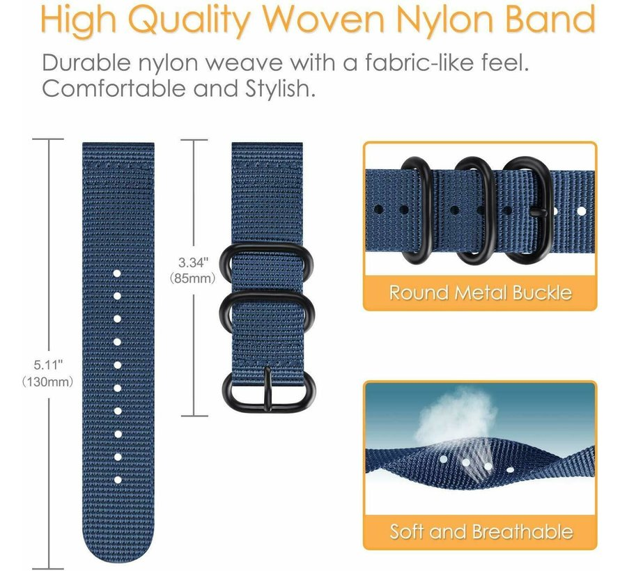 Strap-it® Samsung Galaxy Watch 45mm / 46mm nylon gesp band (blauw)