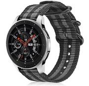 Samsung Galaxy Watch 45mm / 46mm nylon gesp band (zwart/grijs)