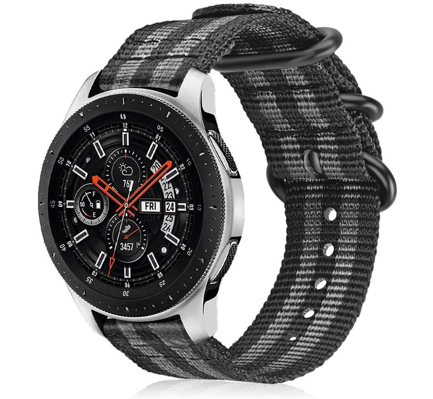 Strap-it® Samsung Galaxy Watch 45mm / 46mm nylon gesp band (zwart/grijs)