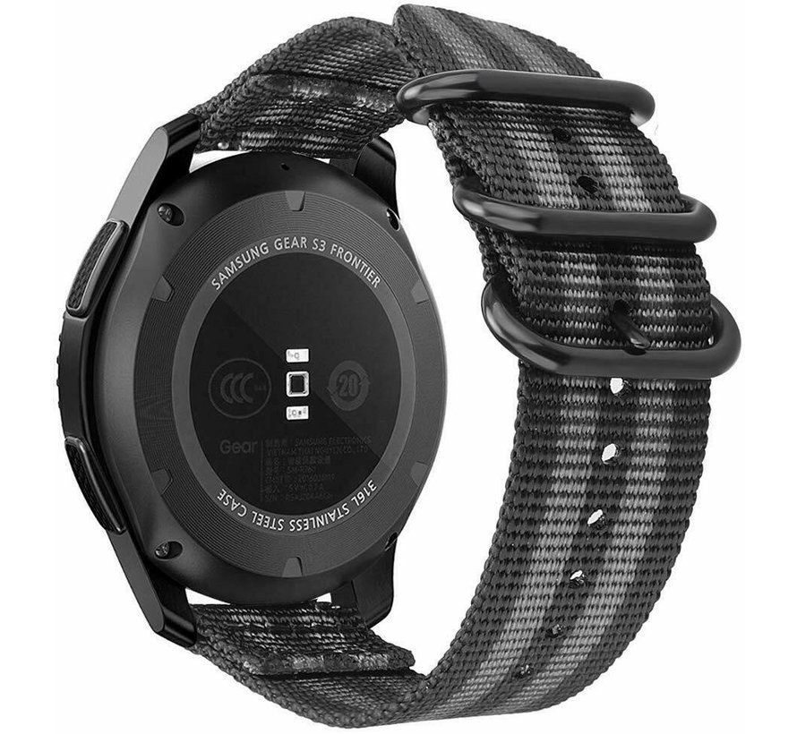 Strap-it® Samsung Galaxy Watch 41mm / 42mm nylon gesp band (zwart/grijs)
