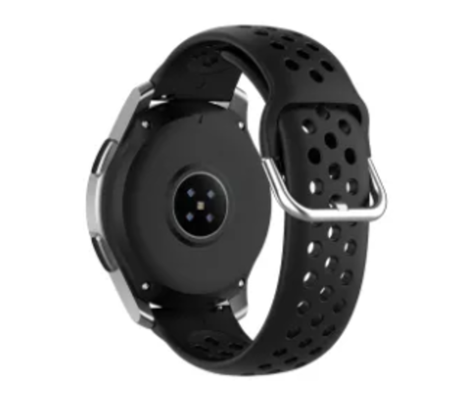 Strap-it® Samsung Galaxy Watch Active siliconen bandje met gaatjes (zwart)