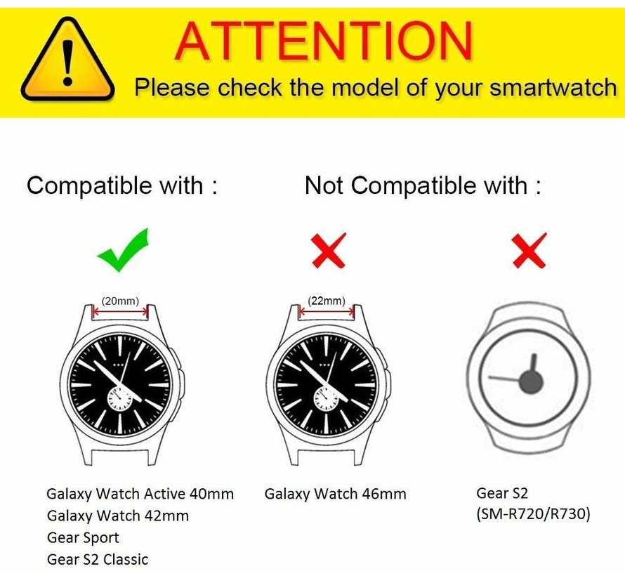 Strap-it® Samsung Galaxy Watch 41mm / 42mm siliconen bandje met gaatjes (wit)