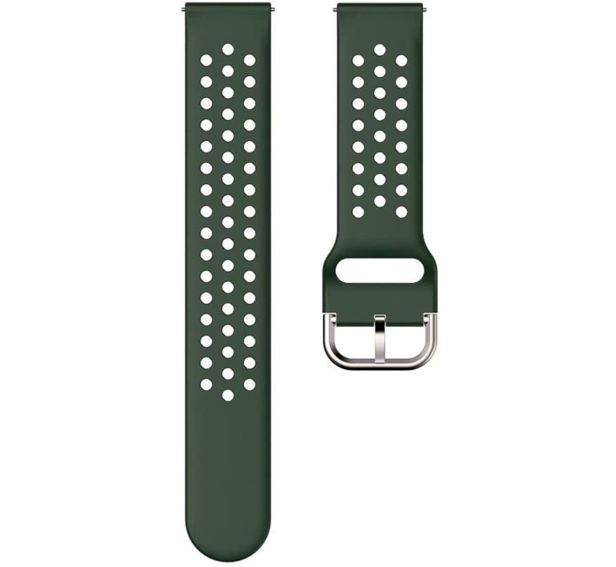 Strap-it® Samsung Galaxy Watch Active siliconen bandje met gaatjes (legergroen)