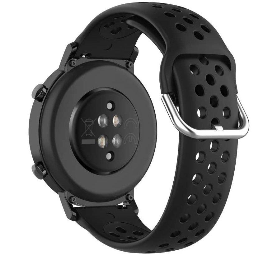 Strap-it® Samsung Galaxy Watch 45mm / 46mm siliconen bandje met gaatjes (zwart)