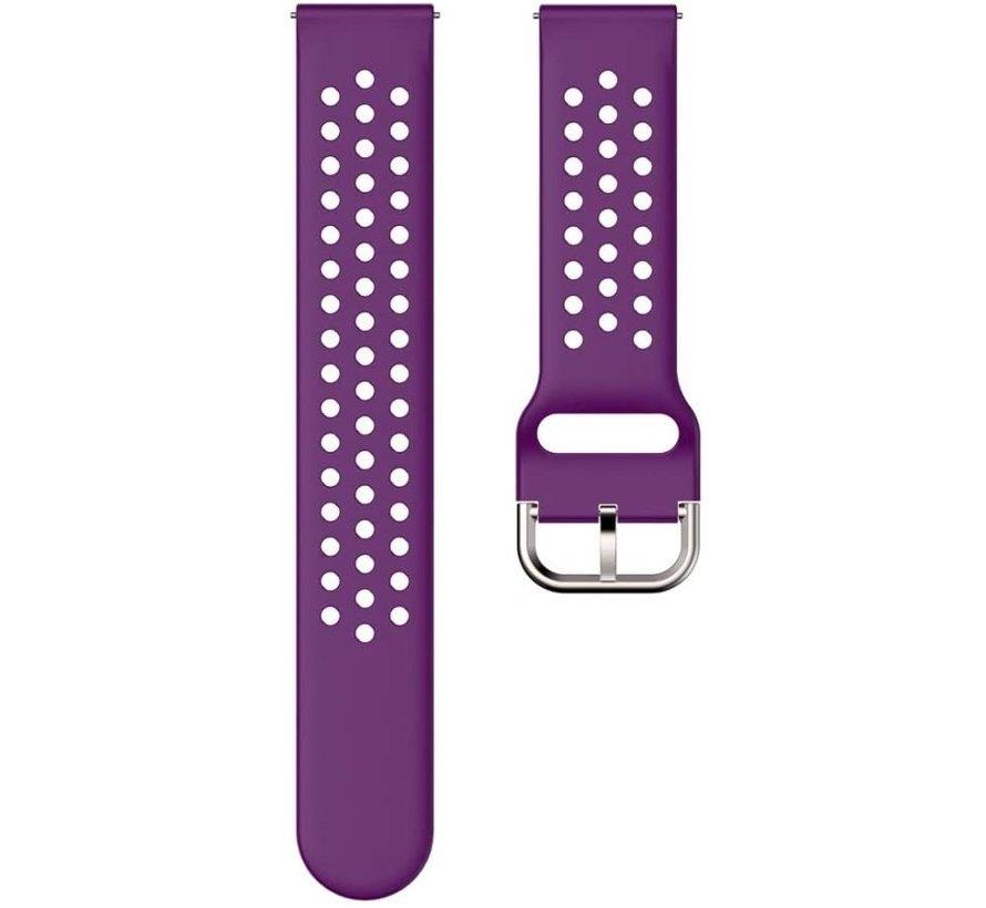Strap-it® Garmin Vivoactive 3 siliconen bandje met gaatjes (paars)