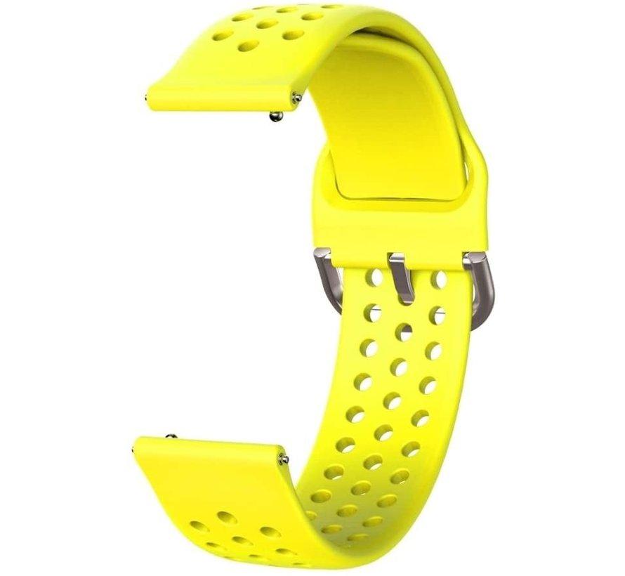 Strap-it® Garmin Vivoactive 3 siliconen bandje met gaatjes (geel)