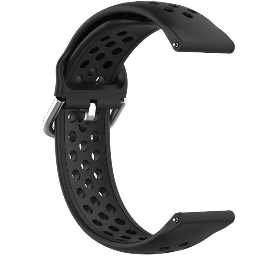 Strap-it® Garmin Vivoactive 3 siliconen bandje met gaatjes (zwart)