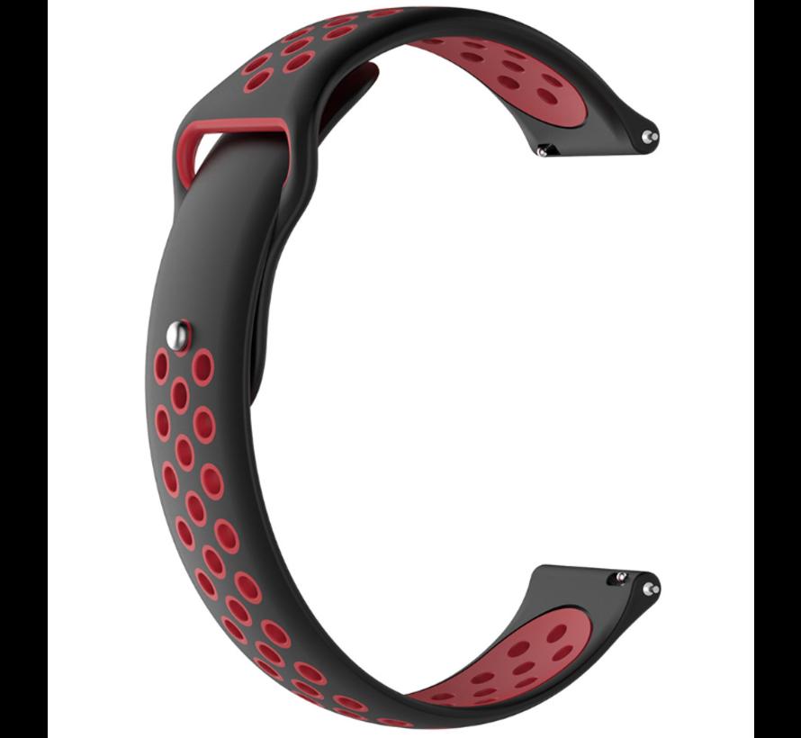Strap-it® Samsung Galaxy Watch sport band 45mm / 46mm (zwart/rood)