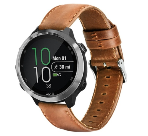 Strap-it® Strap-it® Garmin Vivoactive 4 leren band - 45mm - bruin